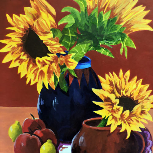 Sunflowers with Apples and Lemons - Michael Hellem- Galeria Adelmo