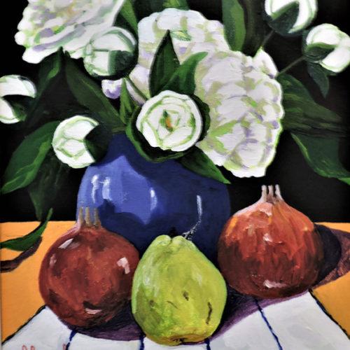 Blue Vase w/ White Peonies