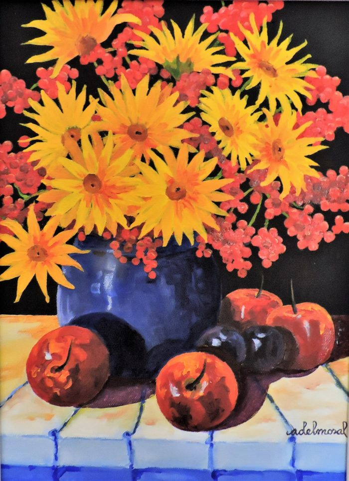 Daisies and Berries with Apples