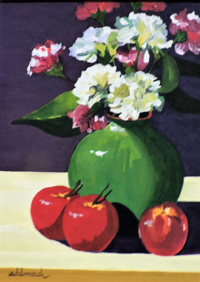 Carnations in Green Vase with Apples