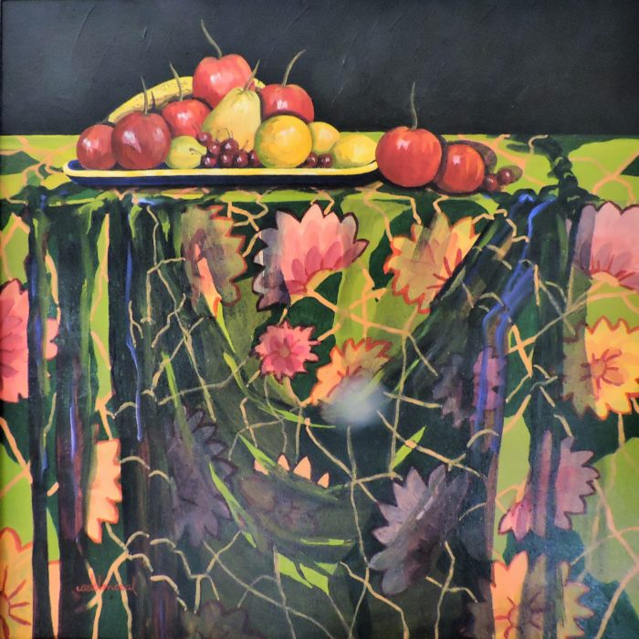 Fruit Bowl with Floral Tablecloth